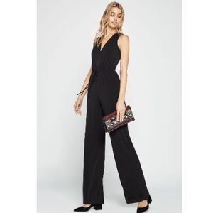 BCBGeneration Black Surplice Open back Jumpsuit